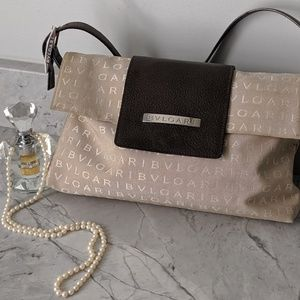 "Bvlgari ""Logomania"" Beige and Tan Bag"